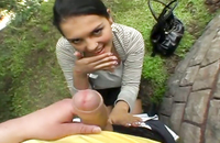 Brunette fucked in her mouth outdoors for a some cash