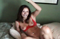 Cute brunette in sexy red lingerie in real homemade porn